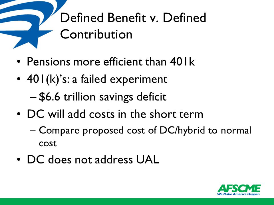 Defined Benefit v. Defined Contribution Pensions more efficient than 401k 401(k)'s: a failed experiment –$6.6 trillion savings deficit DC will add cos