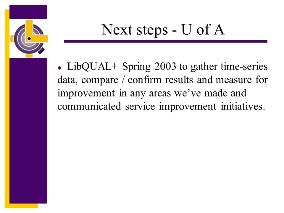 Click to edit Master title style Next steps - U of A LibQUAL+ Spring 2003 to gather time-series data, compare / confirm results and measure for improvement in any areas we've made and communicated service improvement initiatives.