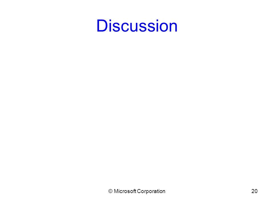 © Microsoft Corporation20 Discussion