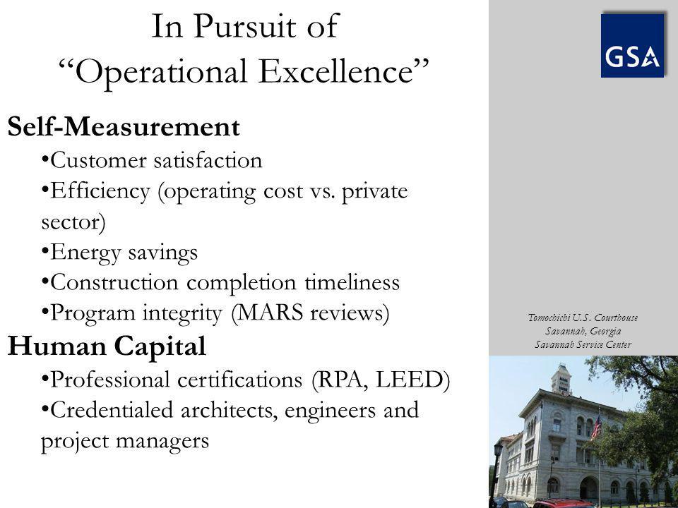 Tomochichi U.S. Courthouse Savannah, Georgia Savannah Service Center Self-Measurement Customer satisfaction Efficiency (operating cost vs. private sec