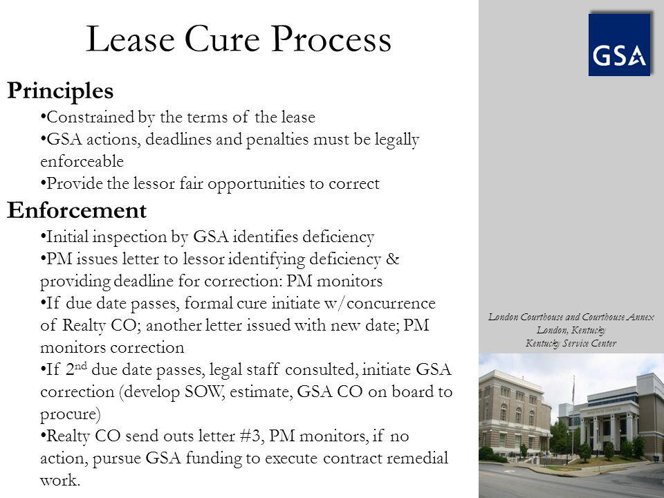 London Courthouse and Courthouse Annex London, Kentucky Kentucky Service Center Principles Constrained by the terms of the lease GSA actions, deadline