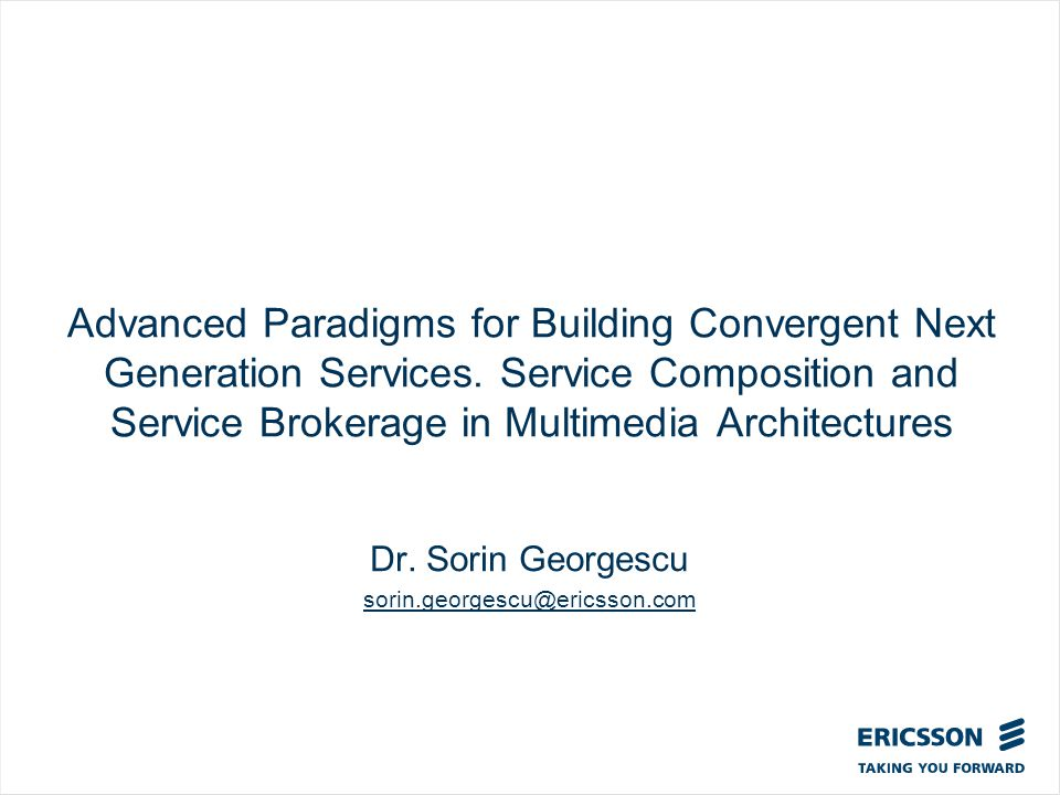 Slide title In CAPITALS 50 pt Slide subtitle 32 pt Advanced Paradigms for Building Convergent Next Generation Services.