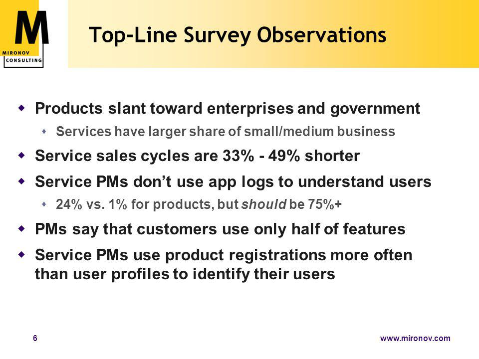 www.mironov.com6 Top-Line Survey Observations  Products slant toward enterprises and government  Services have larger share of small/medium business  Service sales cycles are 33% - 49% shorter  Service PMs don't use app logs to understand users  24% vs.