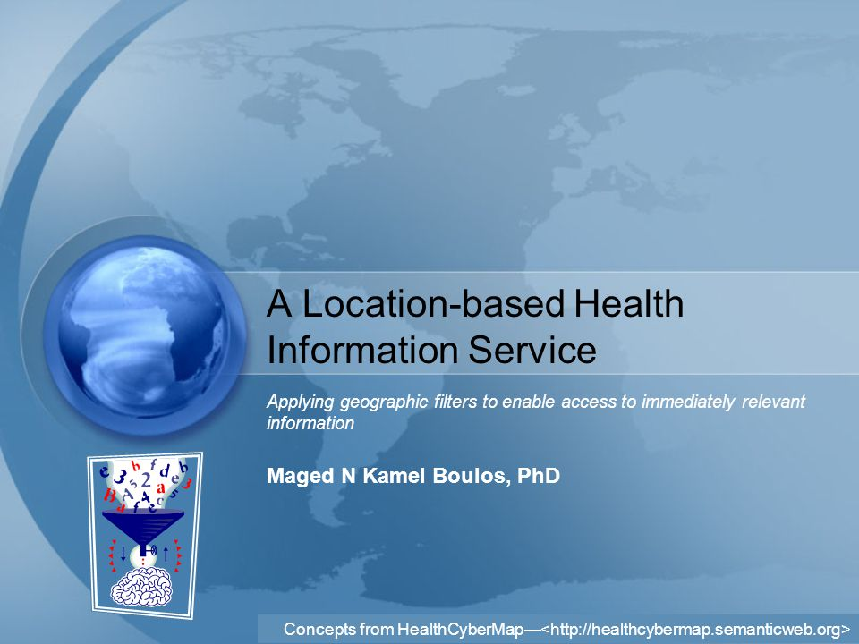 Concepts from HealthCyberMap— Agenda Background –Location Matters –The Power of Where –Location-specific Health Information –Location-based Services Defined –Knowing Where Users Are Stopgap Solutions: Choose Your Location IP Geo-targeting/ Geolocation Solutions Related Technology: Hypertag Aim Objectives Example Scenario Important Issues and Concerns Related to the Proposed Service –Different Device Capabilities –User Privacy –Resource Pool Visualisation and Navigation Issues –Other Issues of Concern Research Potentials and Opportunities Conclusion