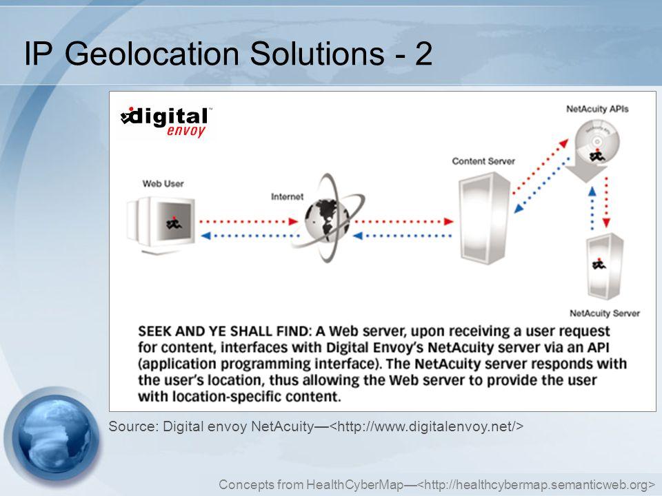 Concepts from HealthCyberMap— IP Geolocation Solutions - 2 Source: Digital envoy NetAcuity—