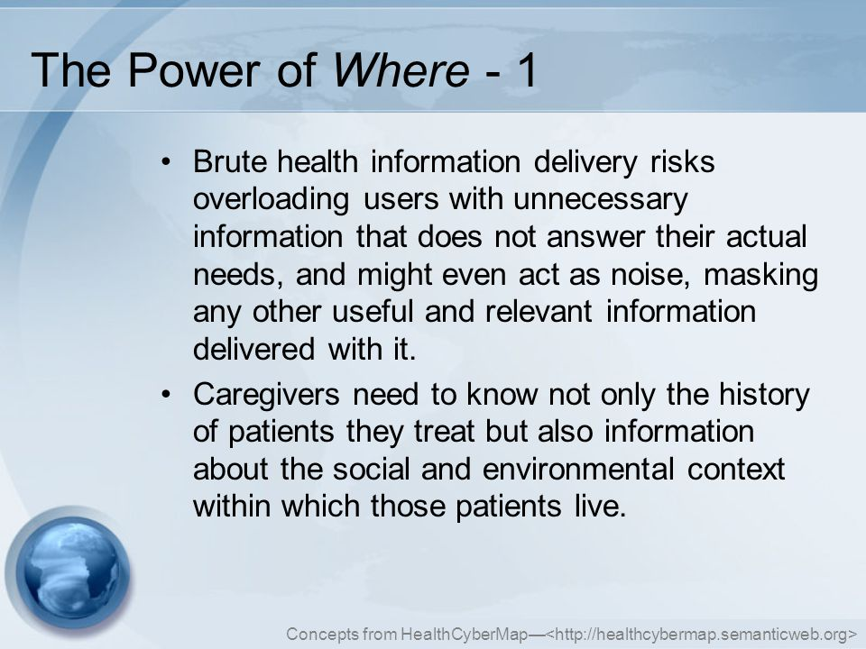Concepts from HealthCyberMap— The Power of Where - 2 Patients and the public in general also have similar needs that vary with location.