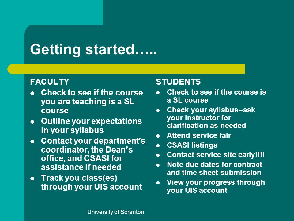 University of Scranton Getting started….. FACULTY Check to see if the course you are teaching is a SL course Outline your expectations in your syllabu