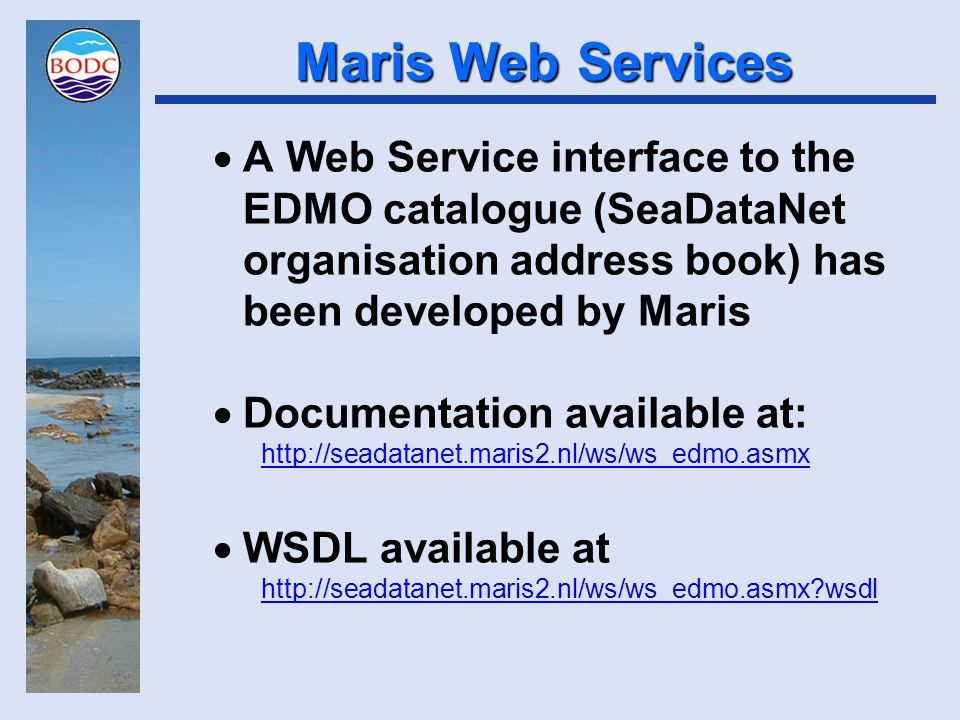 Web Service Plans Web Services provide an excellent technical solution for distributed data systems Metadata or data access service is deployed at each node Applications simply poll each instance of the service Service client code can be embedded into any kind of application – web browser display, data visualisation tool, numerical model and so on Therefore well-suited to the needs of SeaDataNet