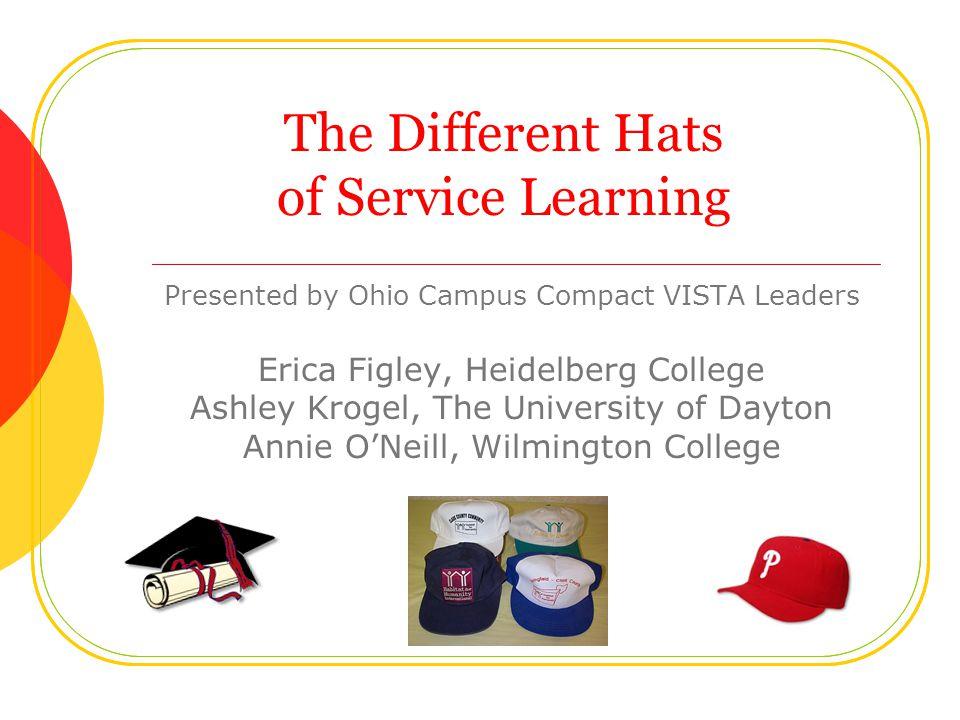 The Different Hats of Service Learning Presented by Ohio Campus Compact VISTA Leaders Erica Figley, Heidelberg College Ashley Krogel, The University of Dayton Annie O'Neill, Wilmington College