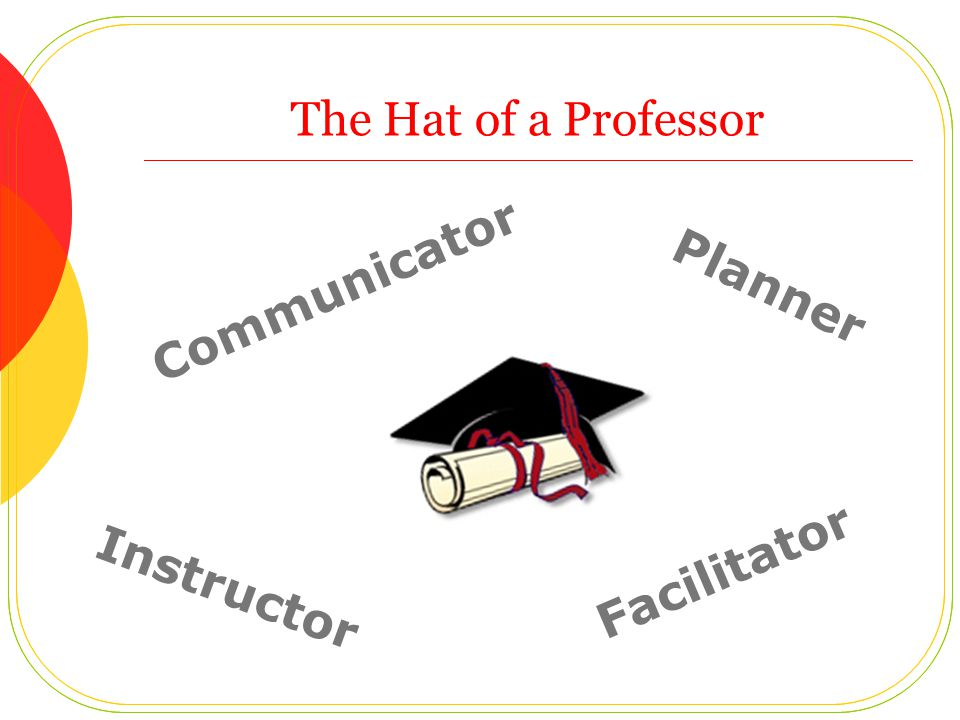 The Hat of a Professor Communicator Planner Instructor Facilitator