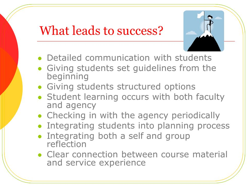What leads to success.