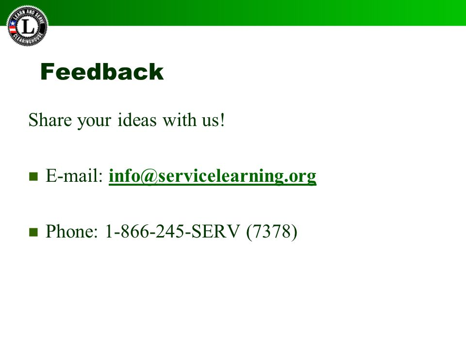 Feedback Share your ideas with us.