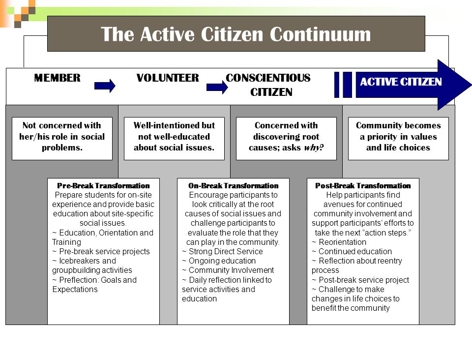 MEMBER VOLUNTEER CONSCIENTIOUS CITIZEN Not concerned with her/his role in social problems.