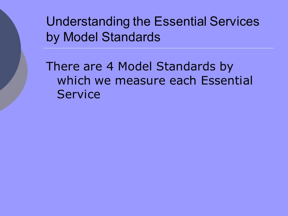 Understanding the Essential Services by Model Standards There are 4 Model Standards by which we measure each Essential Service