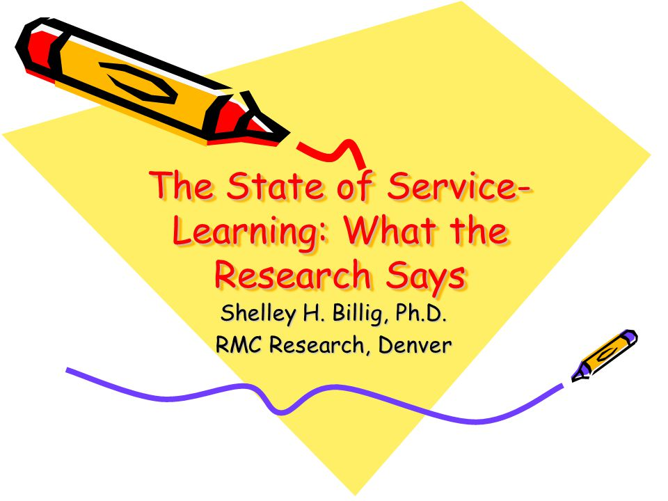The State of Service- Learning: What the Research Says Shelley H.