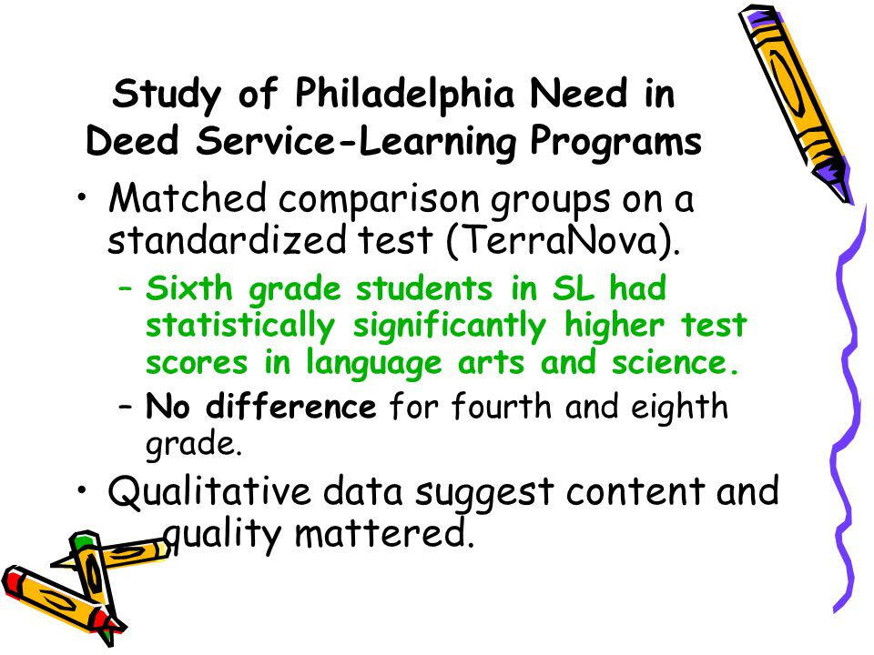 Study of Philadelphia Need in Deed Service-Learning Programs Matched comparison groups on a standardized test (TerraNova).
