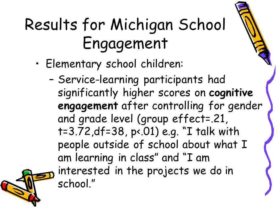 Results for Michigan School Engagement Elementary school children: –Service-learning participants had significantly higher scores on cognitive engagement after controlling for gender and grade level (group effect=.21, t=3.72,df=38, p<.01) e.g.