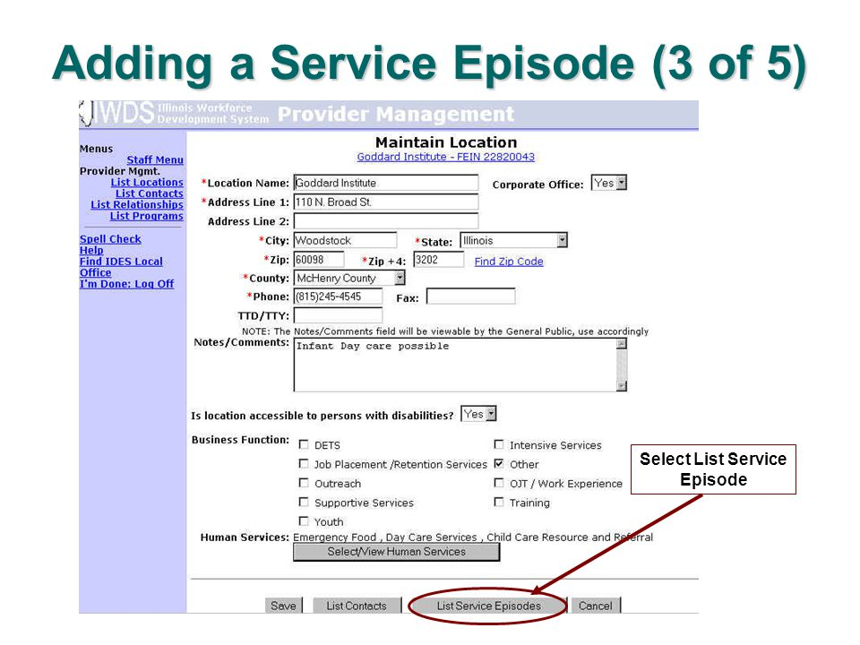 Adding a Service Episode (3 of 5) Select List Service Episode