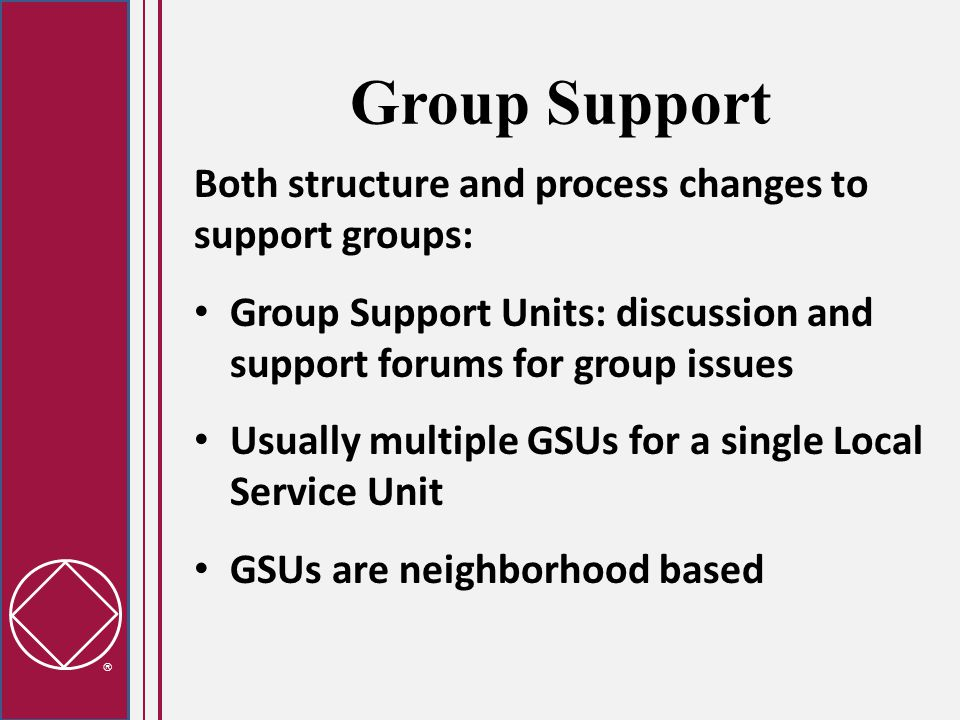  Group Support Both structure and process changes to support groups: Group Support Units: discussion and support forums for group issues Usually multiple GSUs for a single Local Service Unit GSUs are neighborhood based