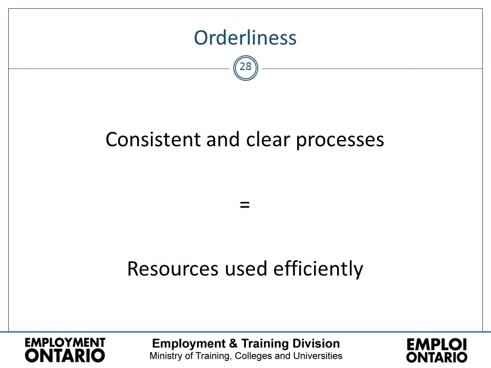28 Orderliness Consistent and clear processes = Resources used efficiently