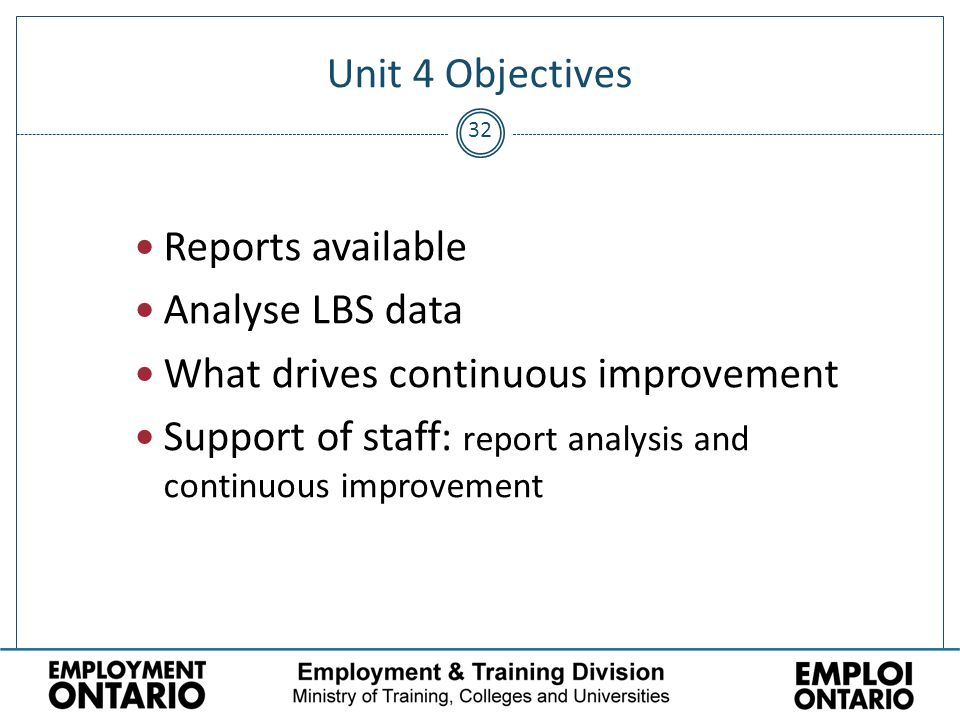 32 Unit 4 Objectives Reports available Analyse LBS data What drives continuous improvement Support of staff: report analysis and continuous improvement