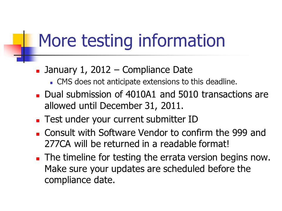 More testing information January 1, 2012 – Compliance Date CMS does not anticipate extensions to this deadline.