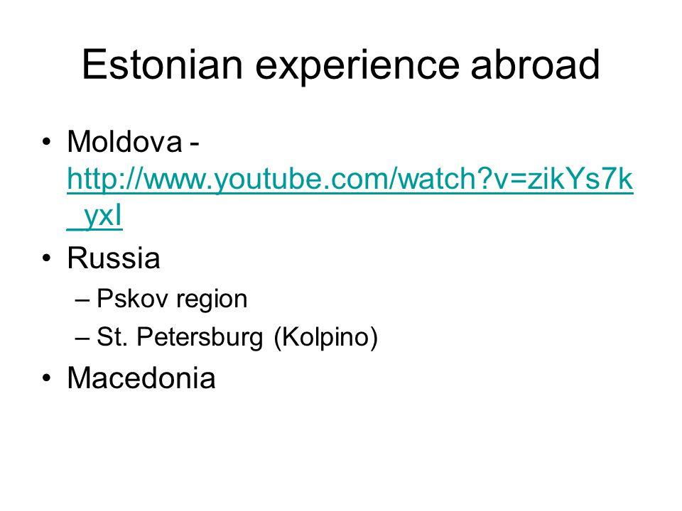 Estonian experience abroad Moldova - http://www.youtube.com/watch v=zikYs7k _yxI http://www.youtube.com/watch v=zikYs7k _yxI Russia –Pskov region –St.