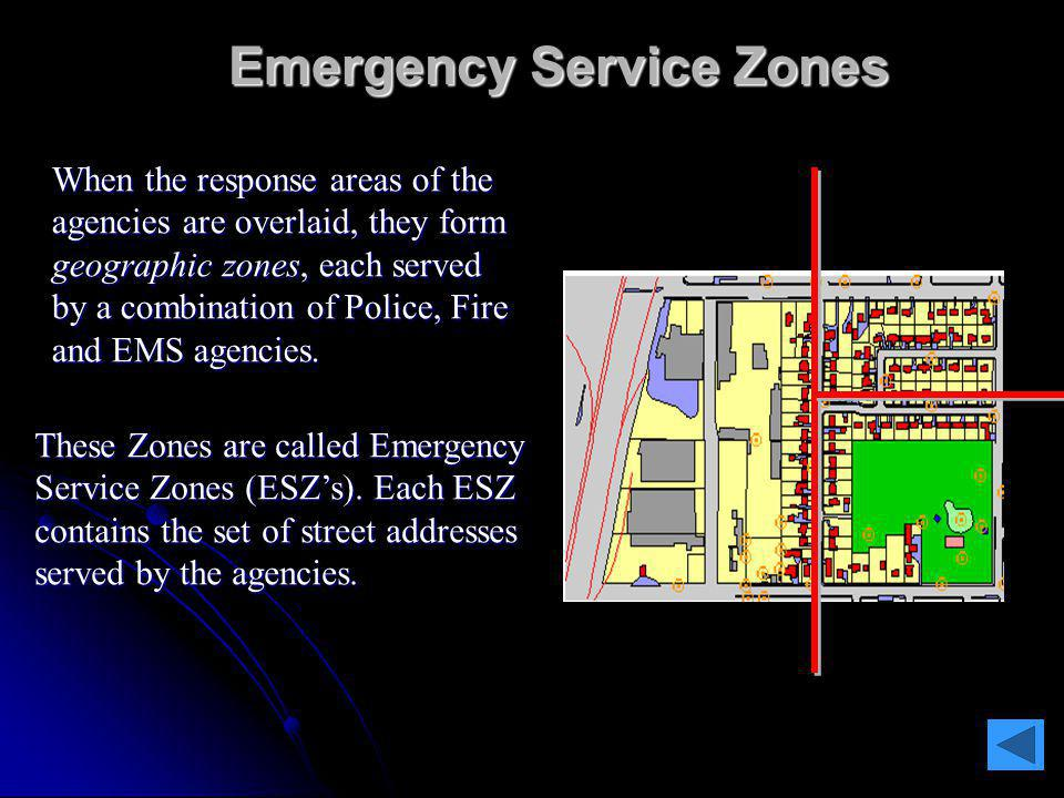 When an emergency call is originated, and location information is received from the VoIP Positioning Center (VPC), the ERDB will identify the ESZ and