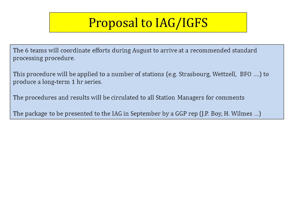 Proposal to IAG/IGFS The 6 teams will coordinate efforts during August to arrive at a recommended standard processing procedure.