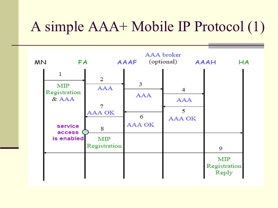 A simple AAA+ Mobile IP Protocol (1)