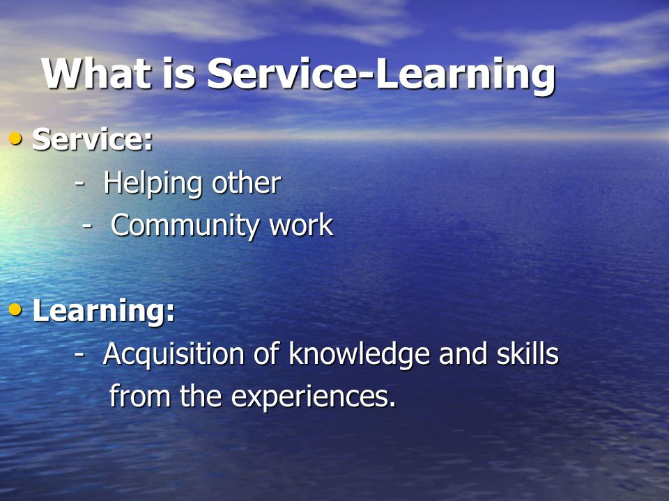 How can we apply Service- Learning in Science.