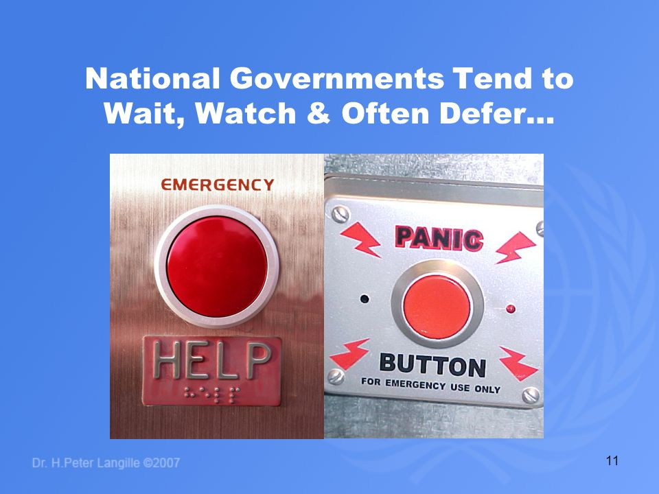 11 National Governments Tend to Wait, Watch & Often Defer…