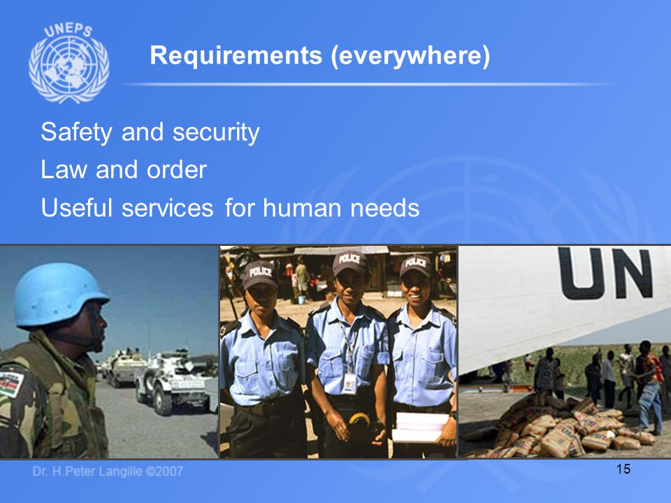 15 Requirements (everywhere) Safety and security Law and order Useful services for human needs
