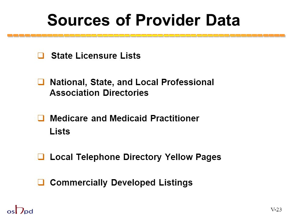 Sources of Provider Data  State Licensure Lists  National, State, and Local Professional Association Directories  Medicare and Medicaid Practitione