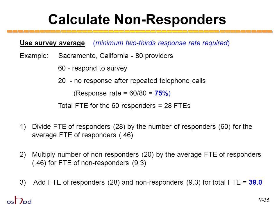 Calculate Non-Responders Use survey average(minimum two-thirds response rate required) Example: Sacramento, California - 80 providers 60 - respond to