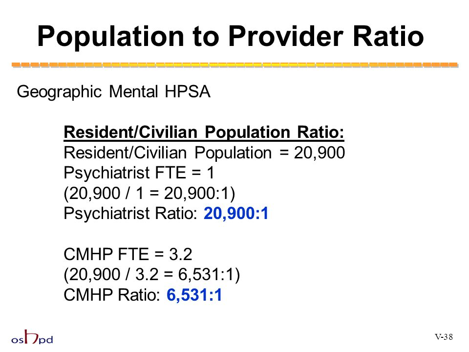 Population to Provider Ratio V-38 Geographic Mental HPSA Resident/Civilian Population Ratio: Resident/Civilian Population = 20,900 Psychiatrist FTE =
