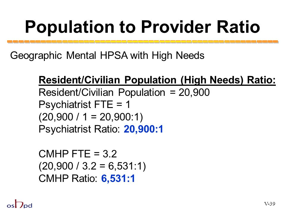 Population to Provider Ratio Geographic Mental HPSA with High Needs Resident/Civilian Population (High Needs) Ratio: Resident/Civilian Population = 20