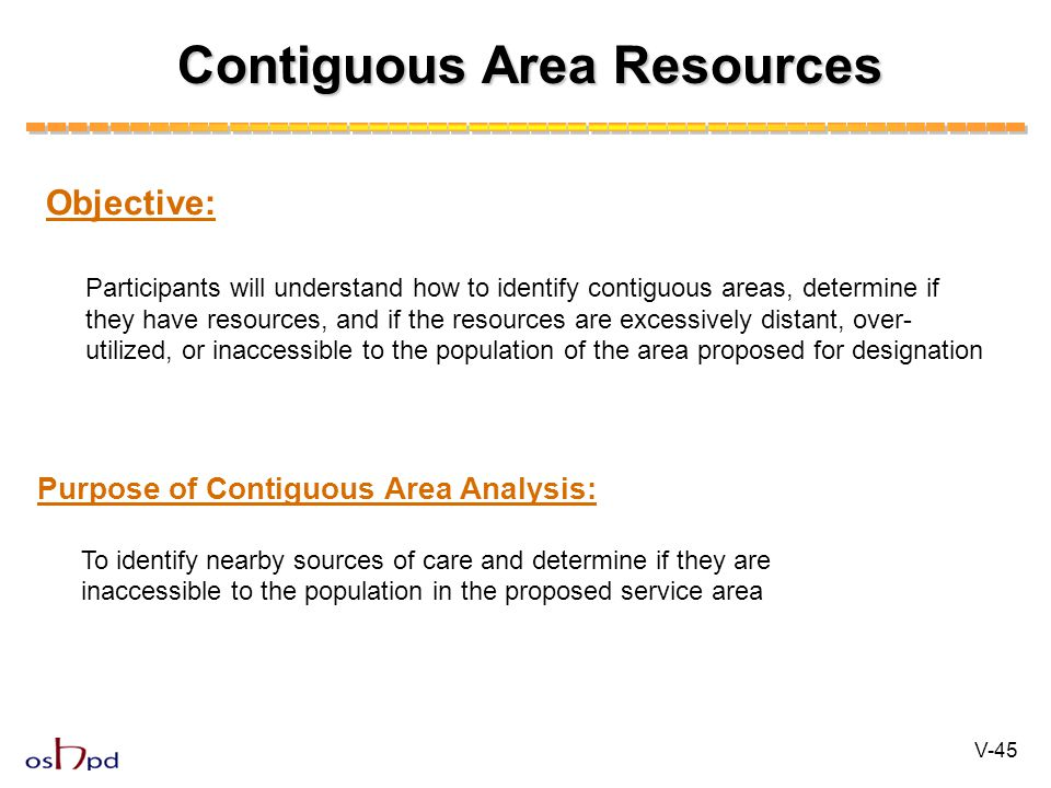Contiguous Area Resources Objective: Participants will understand how to identify contiguous areas, determine if they have resources, and if the resou