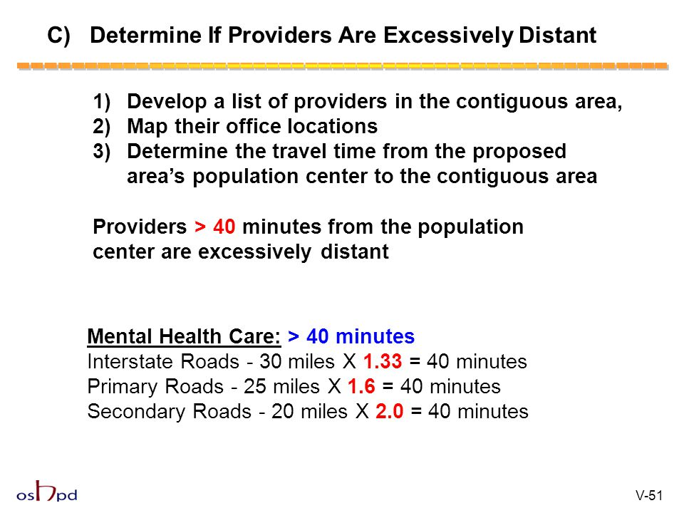 C) Determine If Providers Are Excessively Distant 1)Develop a list of providers in the contiguous area, 2)Map their office locations 3)Determine the t