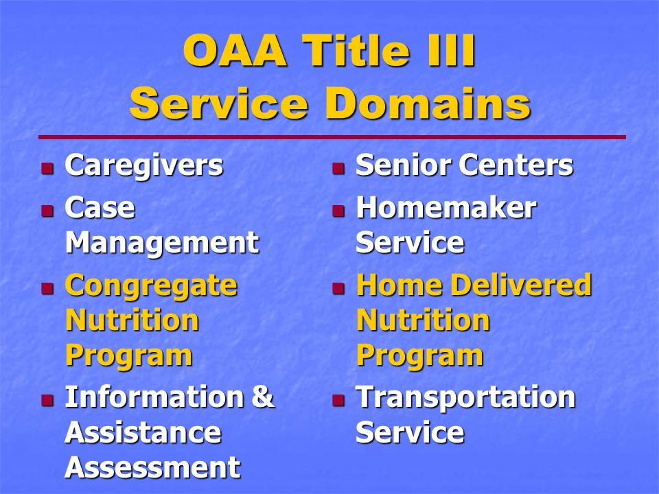 OAA Title III Service Domains Caregivers Caregivers Case Management Case Management Congregate Nutrition Program Congregate Nutrition Program Informat