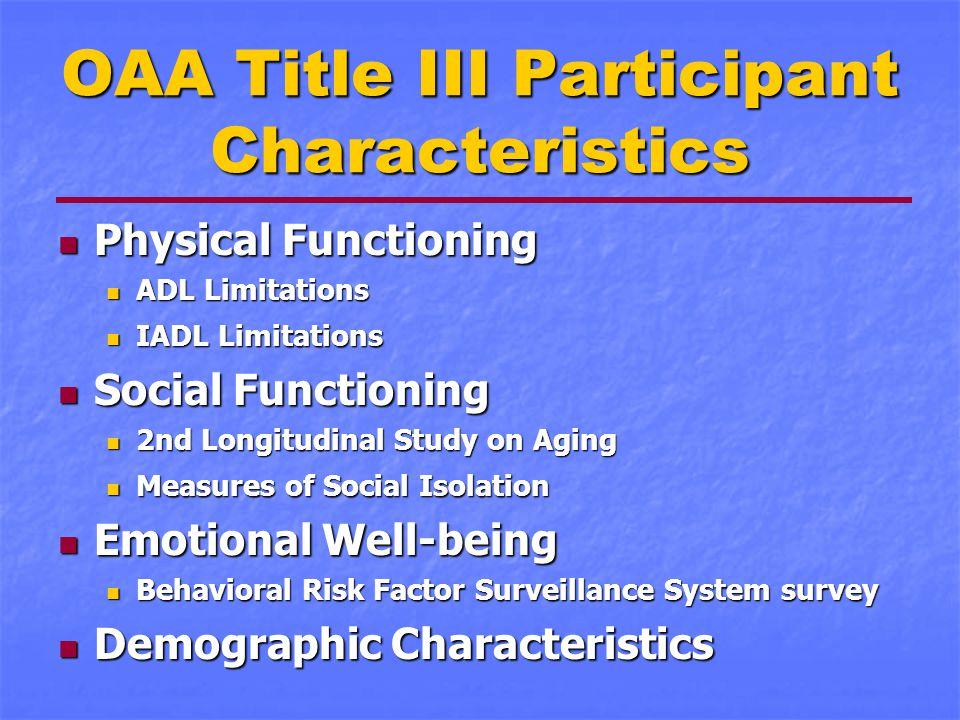OAA Title III Participant Characteristics Physical Functioning Physical Functioning ADL Limitations ADL Limitations IADL Limitations IADL Limitations
