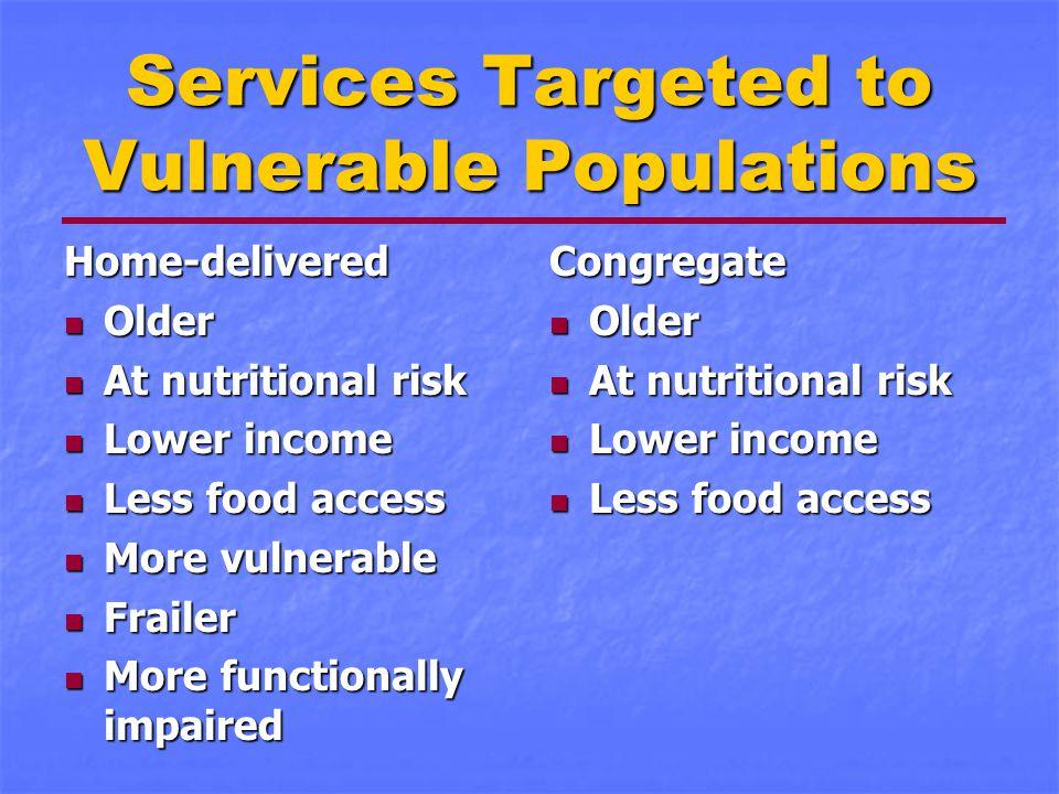 Services Targeted to Vulnerable Populations Home-delivered Older Older At nutritional risk At nutritional risk Lower income Lower income Less food acc