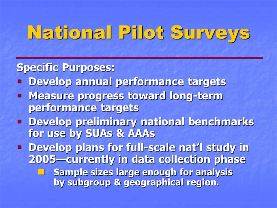National Pilot Surveys Specific Purposes:  Develop annual performance targets  Measure progress toward long-term performance targets  Develop preliminary national benchmarks for use by SUAs & AAAs  Develop plans for full-scale nat'l study in 2005—currently in data collection phase Sample sizes large enough for analysis by subgroup & geographical region.