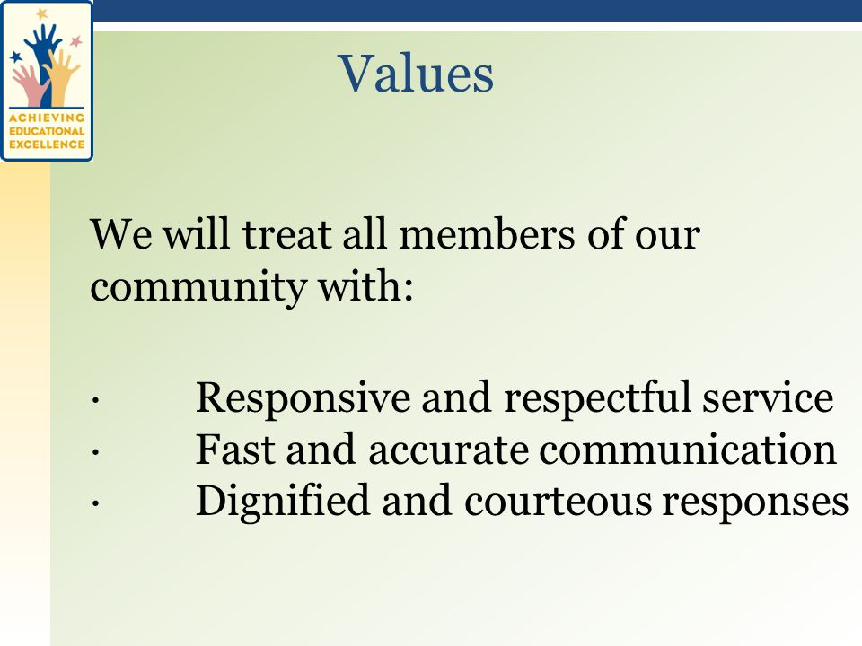 We will treat all members of our community with: · Responsive and respectful service · Fast and accurate communication · Dignified and courteous responses Values