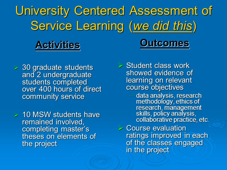 University Centered Assessment Faculty member:  Provides evidence of outcomes to the university audience (programs, accrediting bodies, funders, etc.).