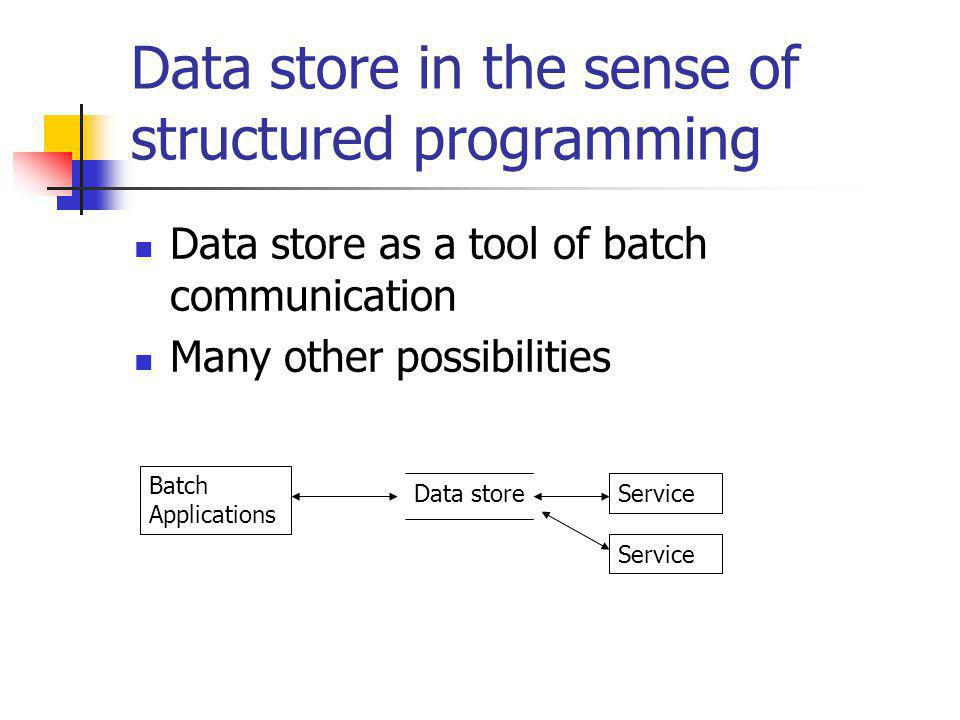 Data store in the sense of structured programming Data store as a tool of batch communication Many other possibilities Batch Applications Service Data store Service
