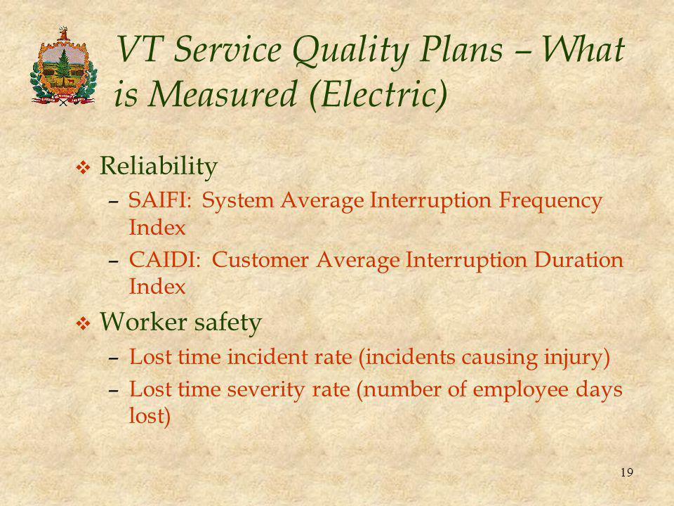 19 VT Service Quality Plans – What is Measured (Electric) v Reliability –SAIFI: System Average Interruption Frequency Index –CAIDI: Customer Average I