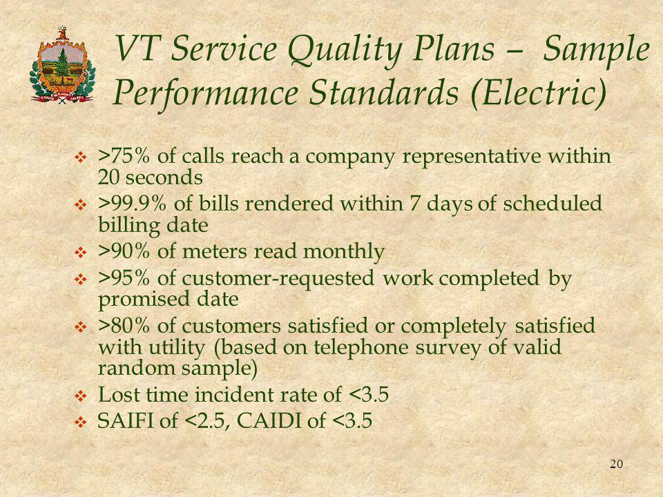 20 VT Service Quality Plans – Sample Performance Standards (Electric) v >75% of calls reach a company representative within 20 seconds v >99.9% of bil