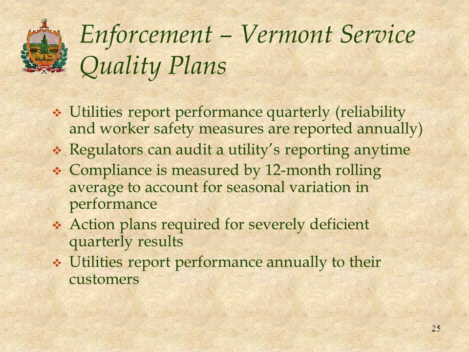 25 Enforcement – Vermont Service Quality Plans v Utilities report performance quarterly (reliability and worker safety measures are reported annually) v Regulators can audit a utility's reporting anytime v Compliance is measured by 12-month rolling average to account for seasonal variation in performance v Action plans required for severely deficient quarterly results v Utilities report performance annually to their customers