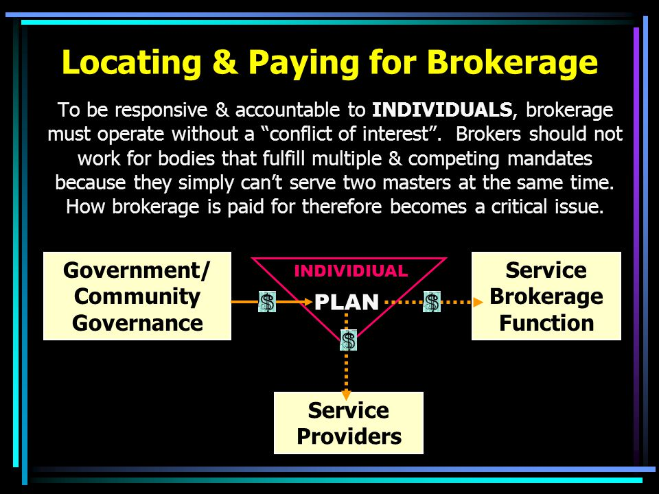 Locating & Paying for Brokerage To be responsive & accountable to INDIVIDUALS, brokerage must operate without a conflict of interest .